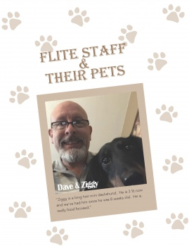 Close up of Dave and his black dog named Ziggy inset with a white background and a paw print beige pattern